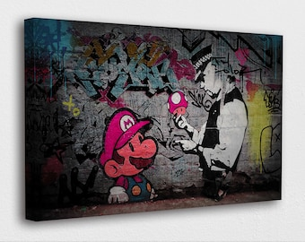Large Wall Art Canvas Print of Banksy Super Mario Police Framed