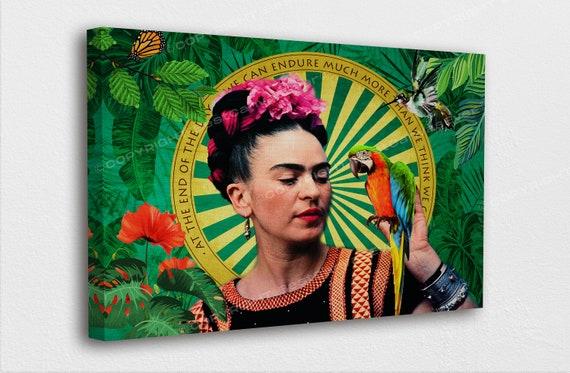 Rahmenlos,30/×40cm Frida Kahlo in Wonder Blumen Und Papagei Leinwand Malerei Portr/ät Wand-Kunst-Plakatdruck Auf Leinwand Hauptdekor Bild F/ür Schlafzimmer