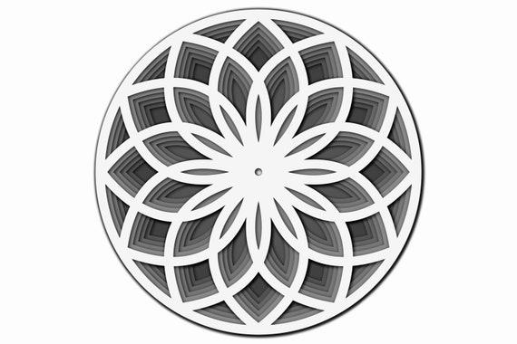 Couche de wall Clock SVG, Laser cut fichier Mandala, 3D Clock SVG, Mandala DXF fichier, Laser cut file Clock, Dxf Pattern, Laser Cut template Clock