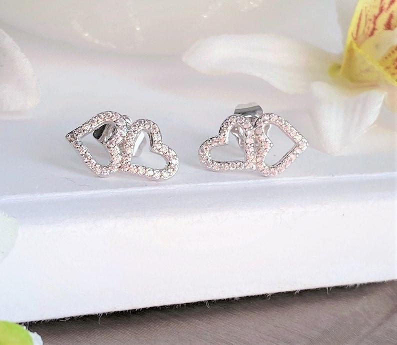Heart Cz Earcuff Love Stud Earring Silver Diamond Cz Stud Earring Heart Stud Earring Silver Diamond Heart Stud Earring Heart Stack Stud