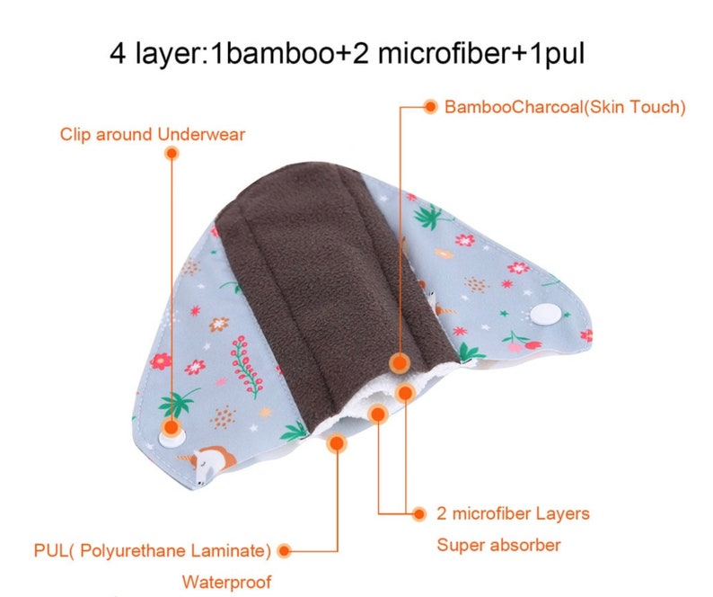 Menstrual Pads Pack of 3. Panty Liners Period Pads Washable Bamboo Cotton pads Reusable Sanitary Pads