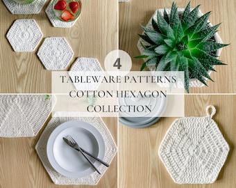 CROCHET PATTERN Cotton Hexagon Tableware Collection   Crochet Coaster Pattern   Easy Crochet   Beginner Crochet Pattern   Modern Crochet