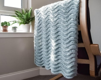 CROCHET PATTERN Quiet Ripple Lapghan   Crochet Lapghan Pattern   Crochet Blanket Pattern   Crochet Throw Pattern   Easy Crochet Pattern