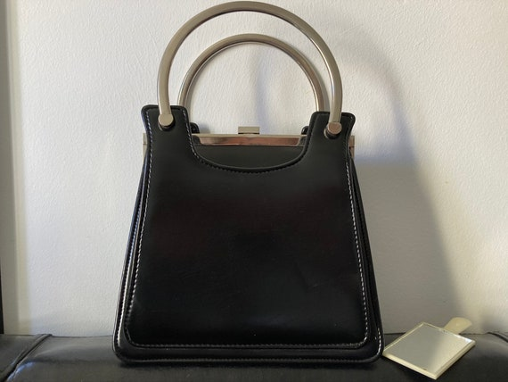 Vintage top handle bag 1960s, genuine leather woma