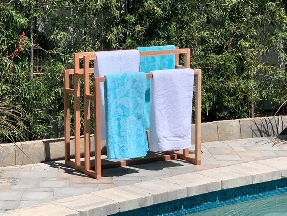 Sustainable Outdoor Wooden Pool Towel Rack And Pool Float Etsy