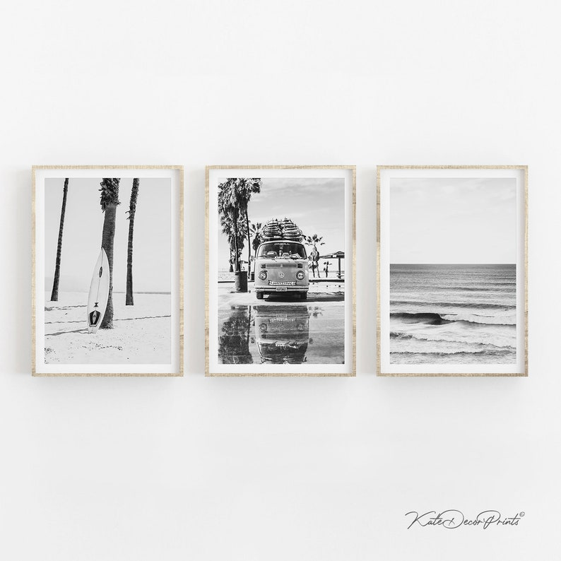 Coastal Wall Art Surfing Print Gallery Wall Set Surf Print Beach Prints Ocean Art Ocean Print Beach Wall Art Black White Set Of 3 Prints