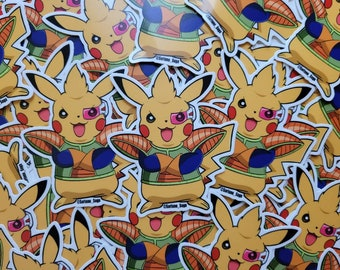 Dragonball Z Pokemon Pikachu Planet Arlia Vegeta Saiyan Armor Matte Sticker