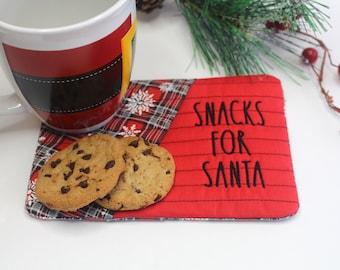 Santa Mug Rug, Santa Snacks, Christmas Mug Rug, Cookies Placemat,