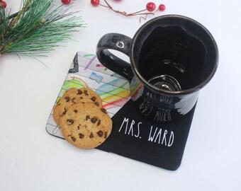 Teacher Mug Rug, Teacher Holiday Gift, Teacher Tiny Placemat, Holiday Mug Rug, Teacher Gift