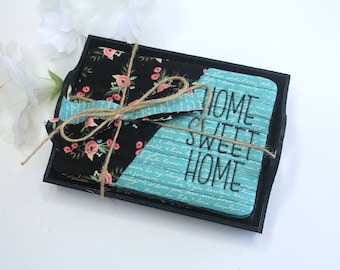 Mug Rug gift Set, Home Sweet Home Tiny Placemat Set, Teacher gift Set, Hostess Gift