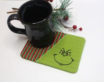 Green Mug Rug, Green Snack Mat, Green Tiny Placemat, Christmas Mug Rug