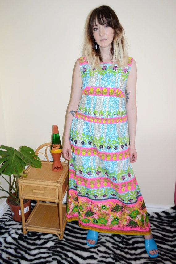 Luxury Vintage REVIVAL 70's Day Glo Print Maxi Dre