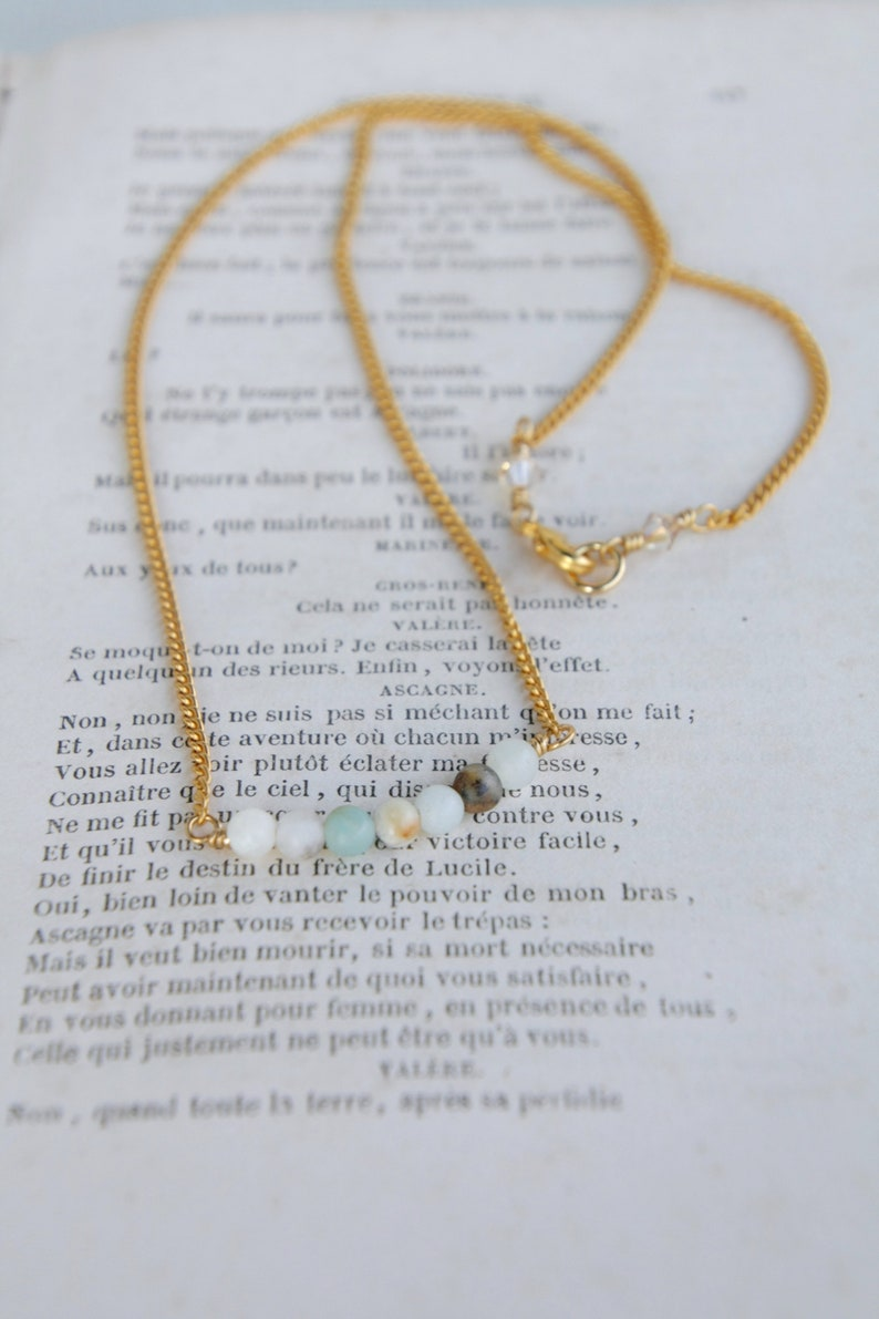 Amazonite 10K Gold Dainty Bar Necklace minimalist gold necklace amazonite necklace boho 10K gold choker necklace gemstone bar necklace