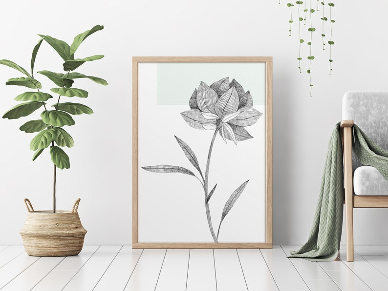 Wall set of 3 Botanical Printable Wall Art Digital Print Neutral Abstract Prints Instant Download Minimalist Modern Art Flower illustration