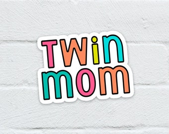 Twin Mom Water Resistant Sticker   Laptop Decal   Hydro Flask   Notebook   Journal   Water Bottle   Free Shipping