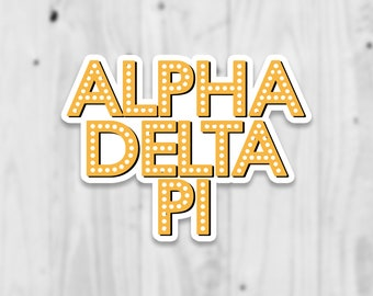Alpha Delta Pi Laptop Sticker   Free Shipping   Water Bottle Stickers   Stickers   Decal   Sorority Gift