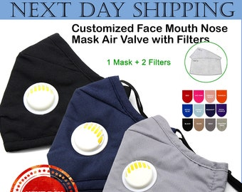 Mask Personalized Face mask Built in Air Valve with Filters  Adult Customized Face Mouth Nose Mask Air Valve with Filters  Outdoor Face Mask