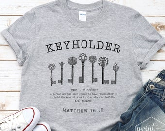 Keyholder Definition Shirt, Christian Shirts for Women, Keys T-Shirt, The Blessing Shirt, Bible Verse Shirt, Christian Gifts, Matthew 16 Tee
