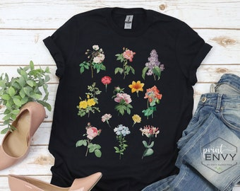Wildflowers Shirt, Floral Tshirt, Botanical Shirt, Flower Shirt, Nature Lover Shirt, Ladies Flower Tee, Womens Gift, Cottagecore Shirt