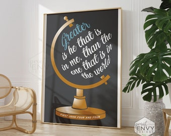 Greater is He That Is In Me Printed Poster, 1 John 4:4 Print, Christian Wall Decor, Christian Wall Art, Christian Poster, Bible Verse Print
