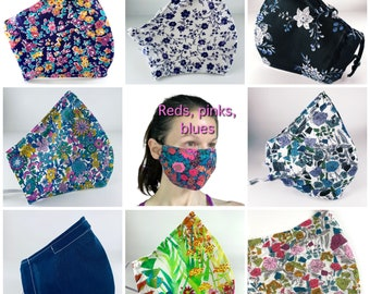 Best Fitting washable face mask with filter pocket, nose wire, adjustable elastic. Liberty of London luxury.  Breathable. SHIPS NOW