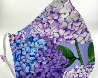 Best fitting washable face mask with filter pocket, nose wire, adjustable ear loops, breathable. Hydrangeas. Ships now.