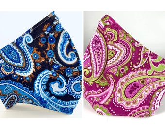 Best fitting washable mask with filter pocket, nose wire, adjustable ear loops, soft lining. Pink Blue paisley. Ships now!