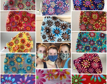 Best fitting, washable face mask with filter pocket, nose wire, adjustable ear loops, soft lining. Ships now! Flower power daisies.