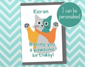 """Cat birthday card, """"wishing you a pawsome birthday"""". Can be personalised, printed in UK with recycled card and plastic-free packaging"""