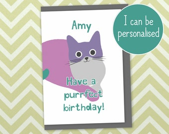 """Cat birthday card """"have a purrfect birthday"""". Can be personalised, printed in UK with recycled card and plastic-free packaging"""