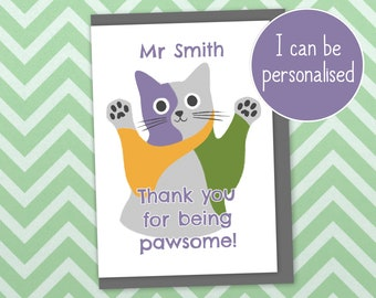 """Cat thank you card - """"Thank you for being pawsome"""". Can be personalised, printed in UK with recycled card and plastic-free packaging"""