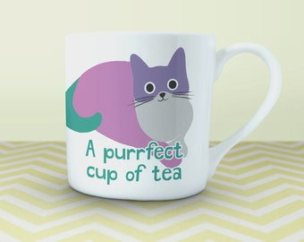 """Fine china cat mug - """"A purrfect cup of tea"""". Gift for cat lovers and tea drinkers, designed and printed in the UK on fine bone china"""