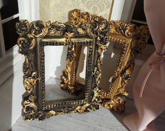 baroque Set of two wooden panels with paper print 1:12 Scale miniature Antique