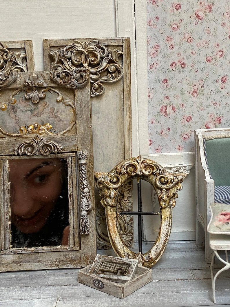 Miniature Trumeau French mirrorbig mirror one inch scale Antique Broqante Vintage