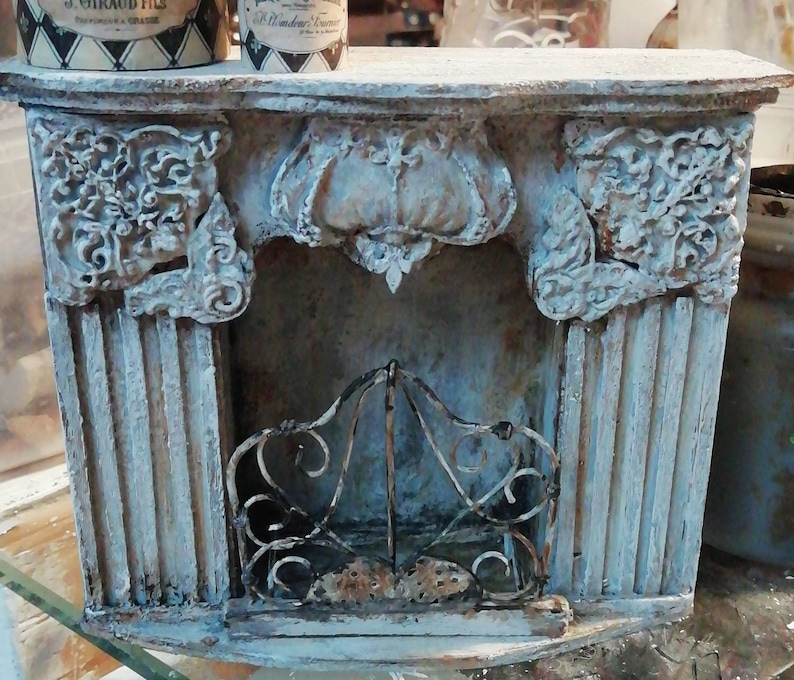 Miniature Fireplace 1:12 Scale Antique Baroque wooden aged and painted by handBeechwood