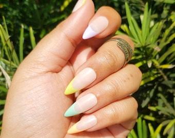 Colorful French Tip Nails - Custom Size Reusable Apres Gel X Press-on Nail Set Rainbow Nails Spring Nails Pastel Nails