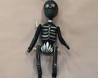 DAY of the DEAD, SKELETON Ornament, Black, Paper Mache Skeleton, Mexican Skeleton, Day of the Dead Skeleton, Dia de los Muertos