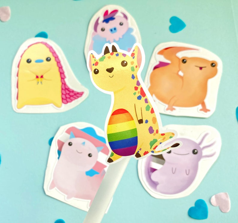 Sticker Pack cute animal pun for queer and gay pride Lesbian Lizard Sticker in LGBTQ Lizbian