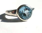 Blue topas silver ring