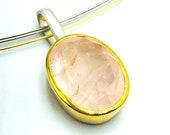 Rose quartz pendant silver bicolor