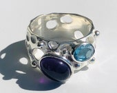 Ring silver with amethyst and blue topas, size 56, women's rings, multistone rings