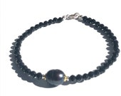 delicate bracelet spinel with freshwater pearl, black stone, silver bicolor