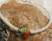 delicate beaded bracelet with carnelian, peridot and blue topas