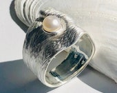 Ring silver with pearl, pearl jewelry