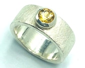 Citrine Silver Band Ring