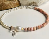 Rhodocrosit bracelet with pearls, gift, pearl jewelry