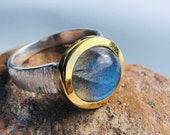 Labradorite ring silver bicolor