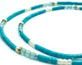 delicate turquoise apatite beaded necklace, silver bicolor, 47 cm
