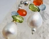 Pearl earrings with carnelian, peridot and blue topas