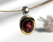 Garnet pendant silver bicolor, garnet jewelry, red stone, chain pendant garnet, jewelry pendant, oval garnet